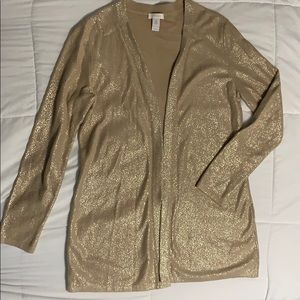 Chicos 0 (Small) Gold Open Cardigan